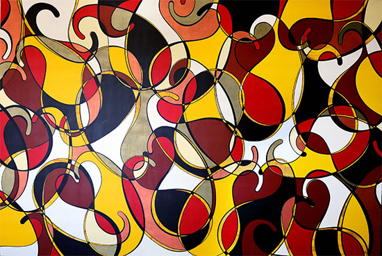 artblend | Boteh in Red, Yellow & Black | Sheetal Shaw